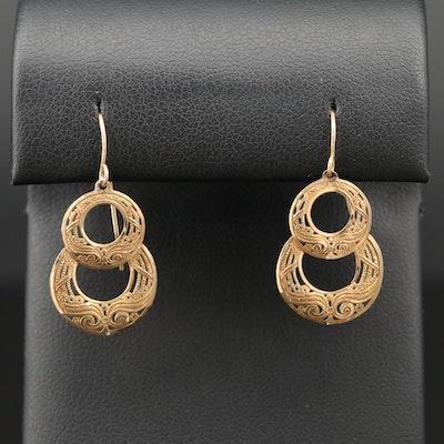 14K Yellow Gold Open Work Dangle Earrings