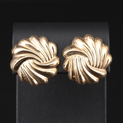 14K Yellow Gold Fluted Earrings