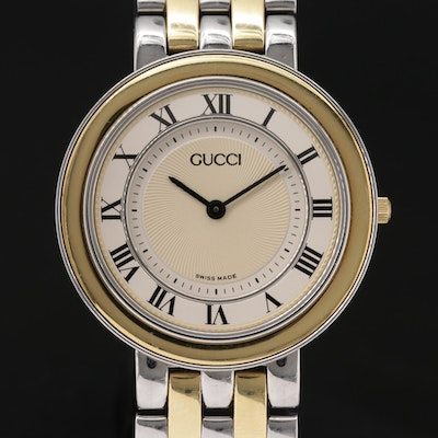 Gucci Guccissimoi 551M 18K Gold and Stainless Steel Quartz Wristwatch