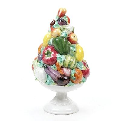 Italian Hand-Painted Majolica Fruit Topiary Centerpiece
