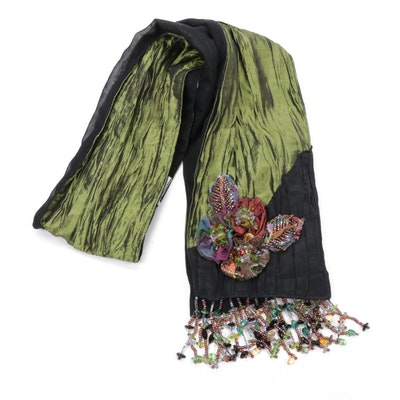 Mary Frances Silk Scarf with Appliqué Embellishment and Beaded Fringe