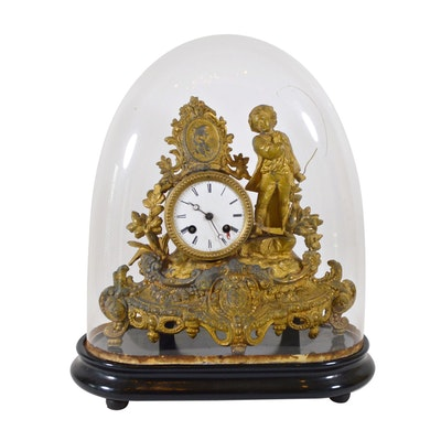 French Gilt Bronze Figural Mantel Clock with Cloche, Mid-Late 19th Century