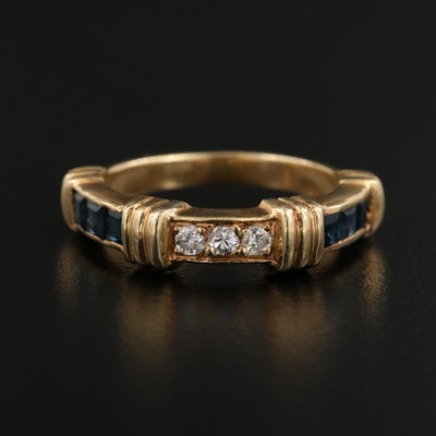 14K Yellow Gold Diamond and Sapphire Ring