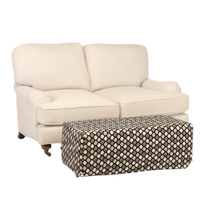 Frontgate Linen Upholstered Love Seat with Ottoman, Contemporary