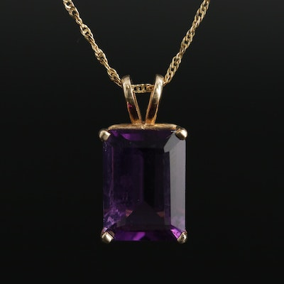 14K Yellow Gold Amethyst Pendant on 10K Yellow Gold Chain Necklace