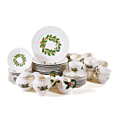 "Scio Pottery Co. ""Holly"" Ironstone Dinnerware, Nine Place Settings, 53 Pieces"