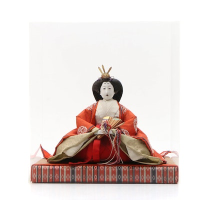 Japanese Empress Hina Doll in Traditional Kimono with Case