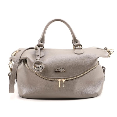Versace Collection Convertible Satchel in Grey Pebbled Leather