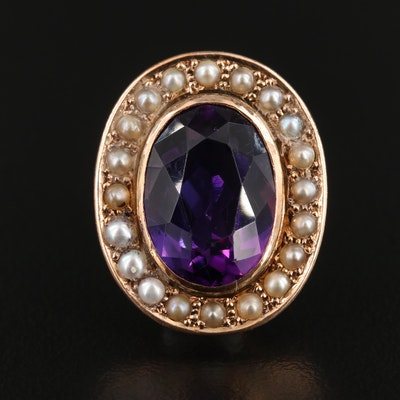 Antique 9K Rose Gold Amethyst and Cultured Pearl Pendant