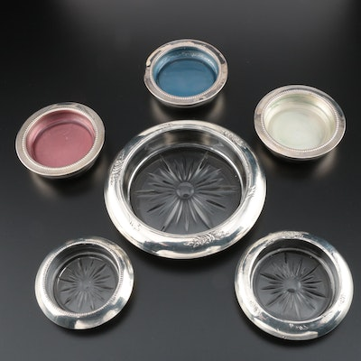 Sterling Silver and Glass Wine Trivet and Coasters