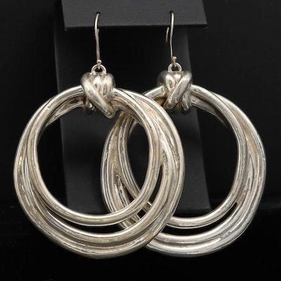 Sterling Silver Drop Hoop Earrings