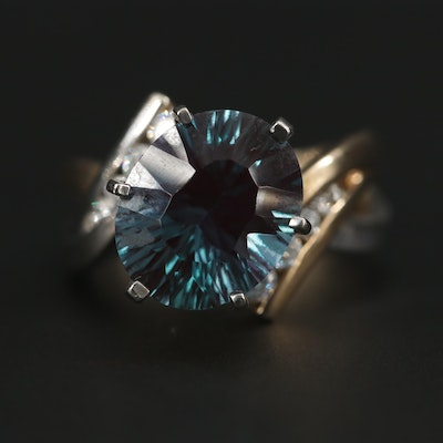 14K Yellow Gold Alexandrite and Diamond Bypass Ring with White Gold Accents