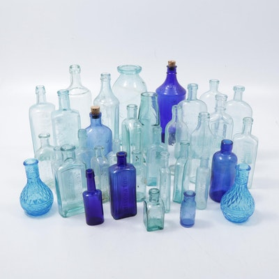 Cobalt, Turquoise and Aqua Apothecary, Advertising and Liquor Bottles