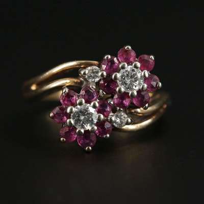 14K Yellow Gold, Diamond and Ruby Ring with White Gold Accents