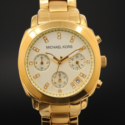 Michael Kors Stainless Steel Quartz Chronograph Wristwatch With Crystal Accents