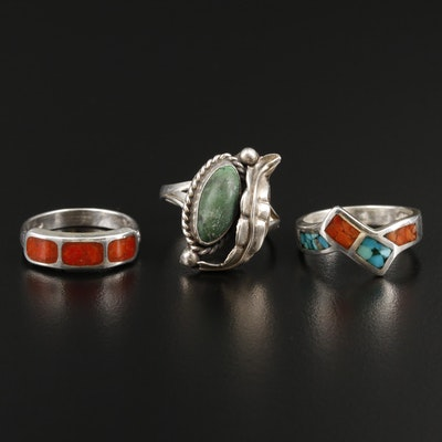 Southwestern Style Sterling Silver Chip Coral and Turquoise Rings