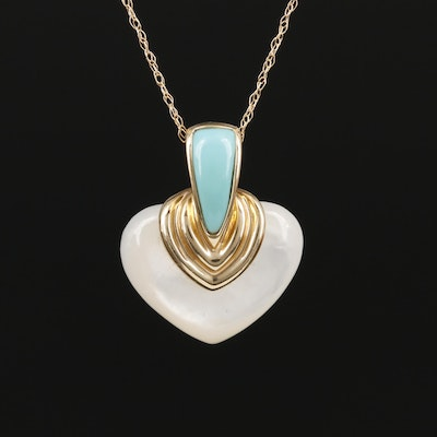 14K Yellow Gold Turquoise and Mother of Pearl Pendant Necklace
