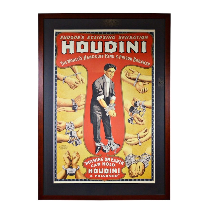 """Reproduction Lithograph """"Houdini: The World's Handcuff King"""""""