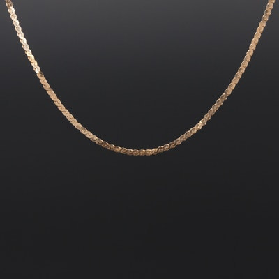 14K Yellow Gold Serpentine Link Chain Necklace