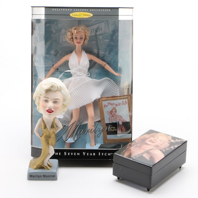 """""""The Seven Year Itch"""" Marilyn Monroe Barbie with Other Marilyn Collectibles"""