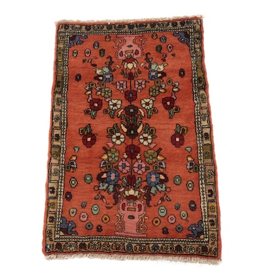 "1'8 x 2'8 Hand-Knotted Persian Bijar ""Vase of Flowers"" Rug, circa 1970"