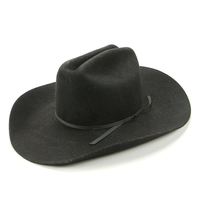 LHC Brands Cattleman Style Hat in Black Felted Wool