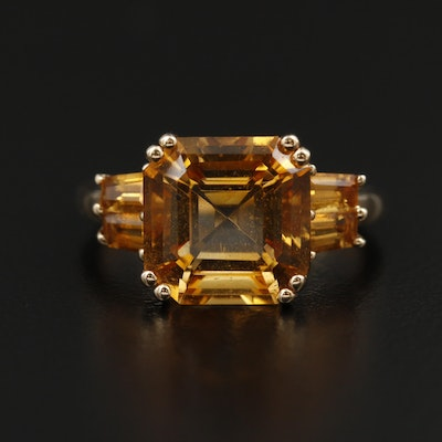 14K Yellow Gold Citrine Cathedral Ring