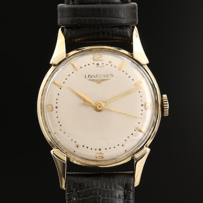 Longines 14K Gold Fancy Lug Stem Wind Dress Watch, Vintage