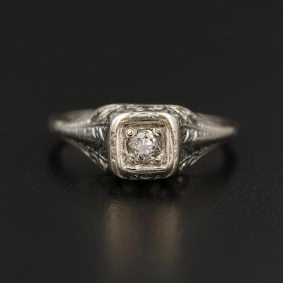 Vintage 18K White Gold Diamond Ring