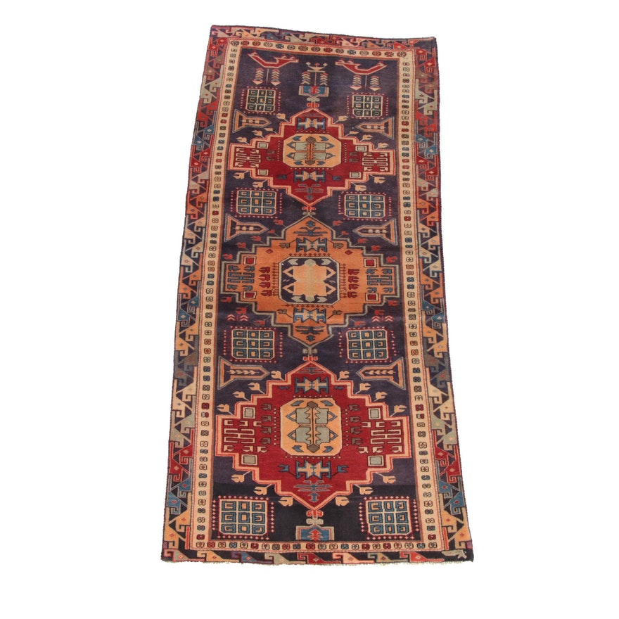 3'8 x 8'6 Hand-Knotted Persian Shirvan Wool Long Rug