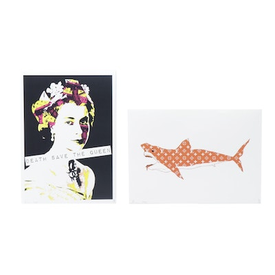 """Death NYC Graphic Prints """"Louis Vuitton Shark Orange"""" and """"Death Save The Queen"""""""