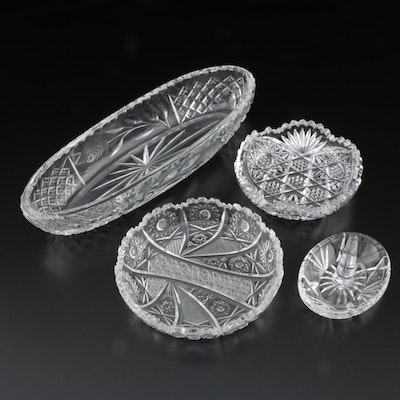 Cut Crystal and Glass Celery Bowl, Ring Holder, and More