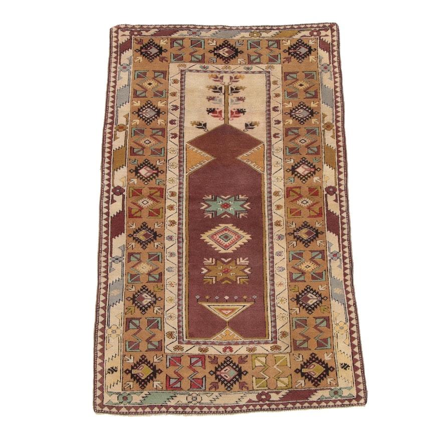 3'8 x 6'2 Hand-Knotted Turkish Wool Prayer Rug