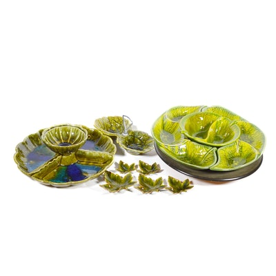California Original Pottery Green Relish Tray on Lazy Susan and More