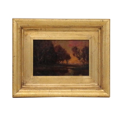 Tonalist Landscape Oil Painting, Early 20th Century