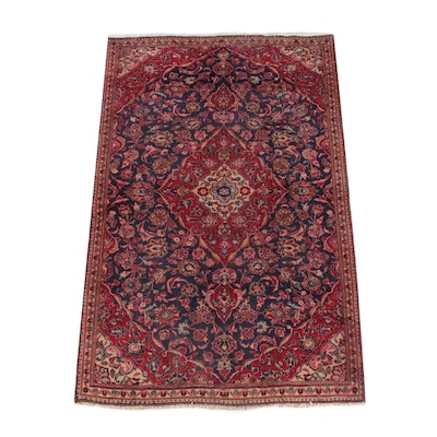 4'9 x 7'8 Hand-Knotted Persian Kashan Wool Rug