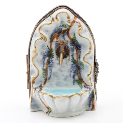 Hand Painted Porcelain Wall Fountain Limoges Box