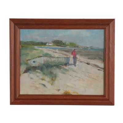 Harry Barton Beach Scene Oil Painting