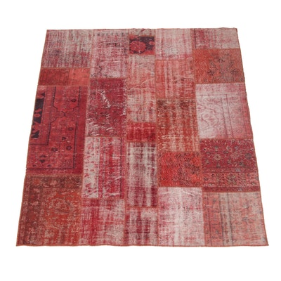 6'8 x 7'7 Machine Made Persian Patchwork Wool Area Rug