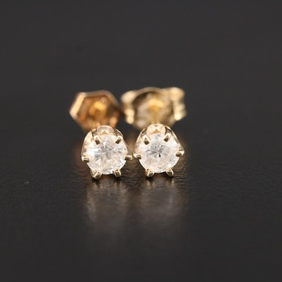 14K Yellow Gold 0.44 CTW Diamond Solitaire Stud Earrings