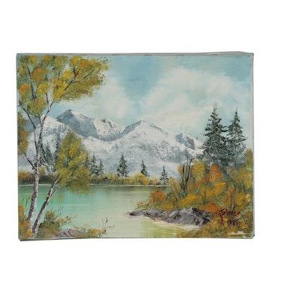 Jen Glover Oil Landscape Painting, 1984