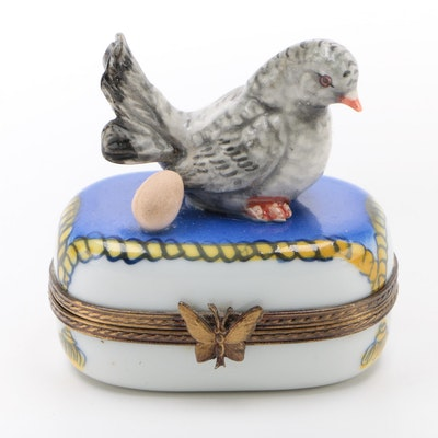 Eximous Hand-Painted Porcelain Pigeon Limoges Box