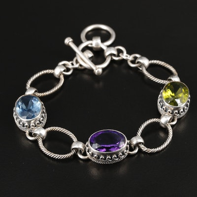 Sterling Silver Adjustable Cable Link Bracelet