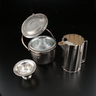 Silver Plate Pitcher, Ice Bucket and Footed Bowl with Glass Insert