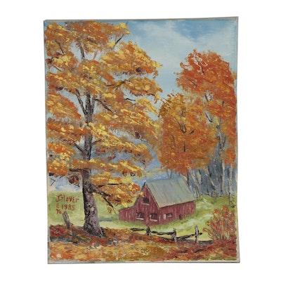 Jen Glover Oil Landscape Painting, 1985