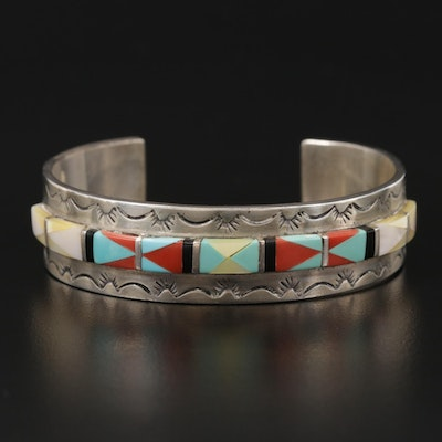 Southwestern Sterling Turquoise, Coral, Mother Of Pearl and Black Onyx Bracelet