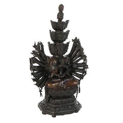 Tibetan Style Thousand-Armed Avalokiteshvara Brass Sculpture