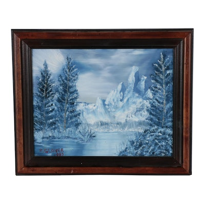 R. Glover Winter Landscape Oil Painting, 1983