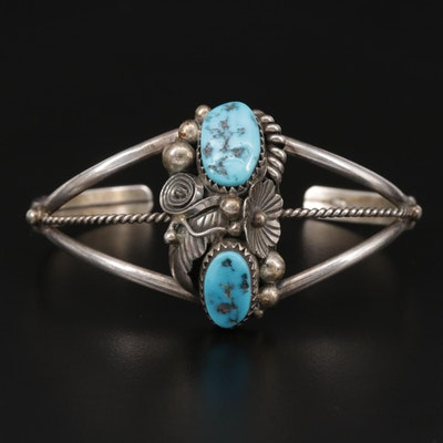 Max Calabaza Navajo Diné Sterling Silver Turquoise Cuff Bracelet