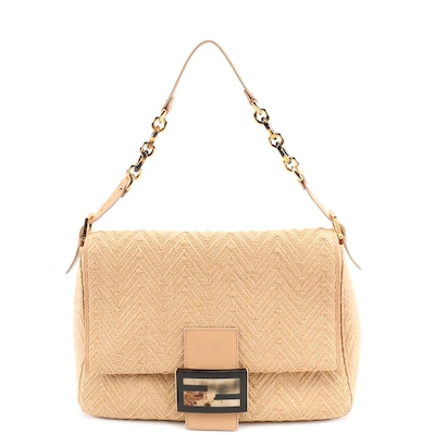 Fendi Chevron Woven Raffia Satchel with Beige Leather Trim